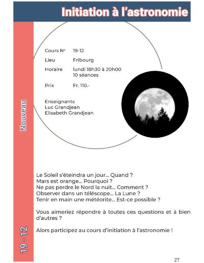19-12 Initiation à l'astronomie