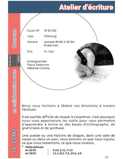 19-ecm2 Atelier d'écriture